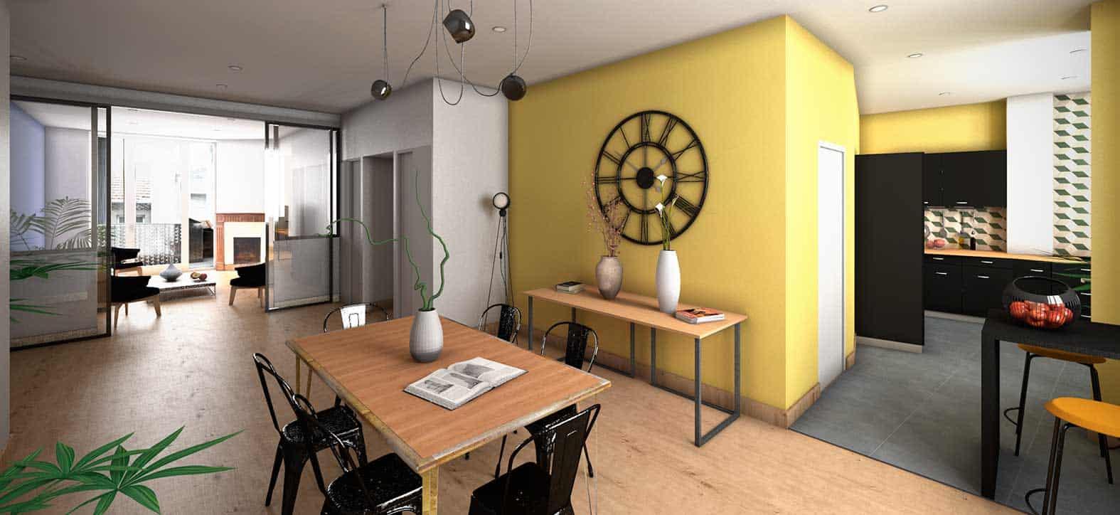 Rénovation salon rehabilitation exemple